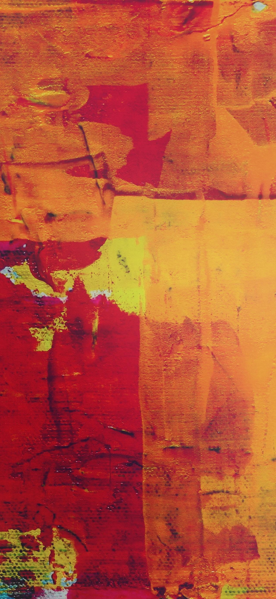 Abstract, Red-yellow, Canvas, Art, Wallpaper - Red And Yellow Paint - HD Wallpaper