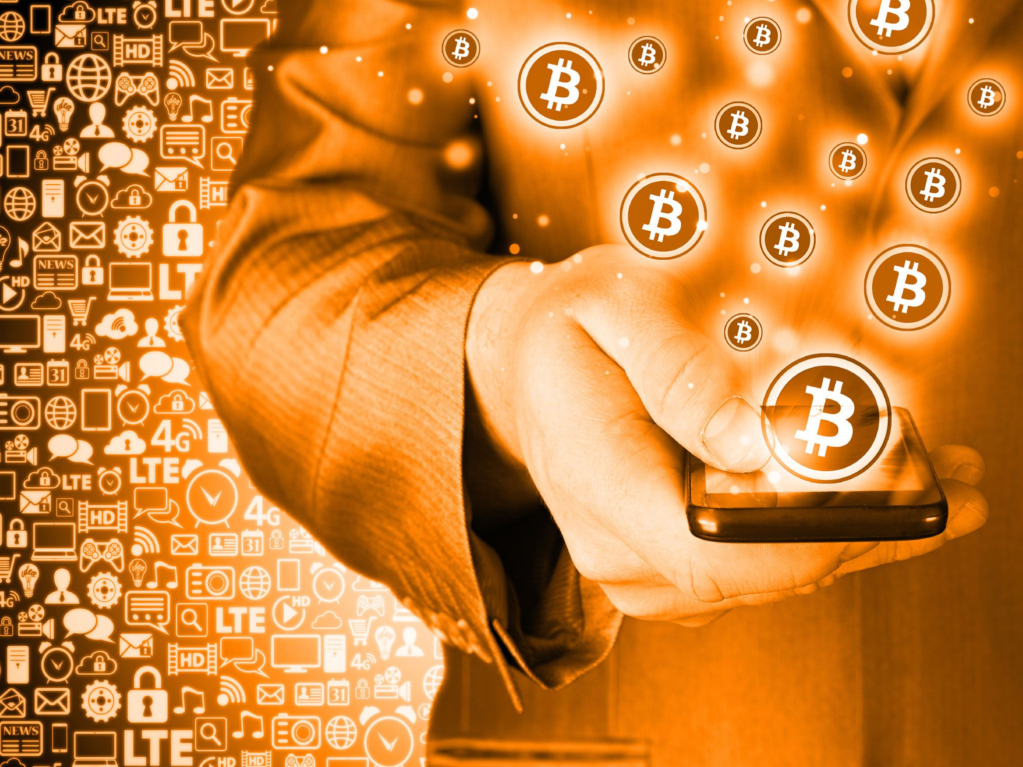 Bitcoin And Phone Full Hd Copper Color Bitcoin Stock 2048x1536 Wallpaper Teahub Io
