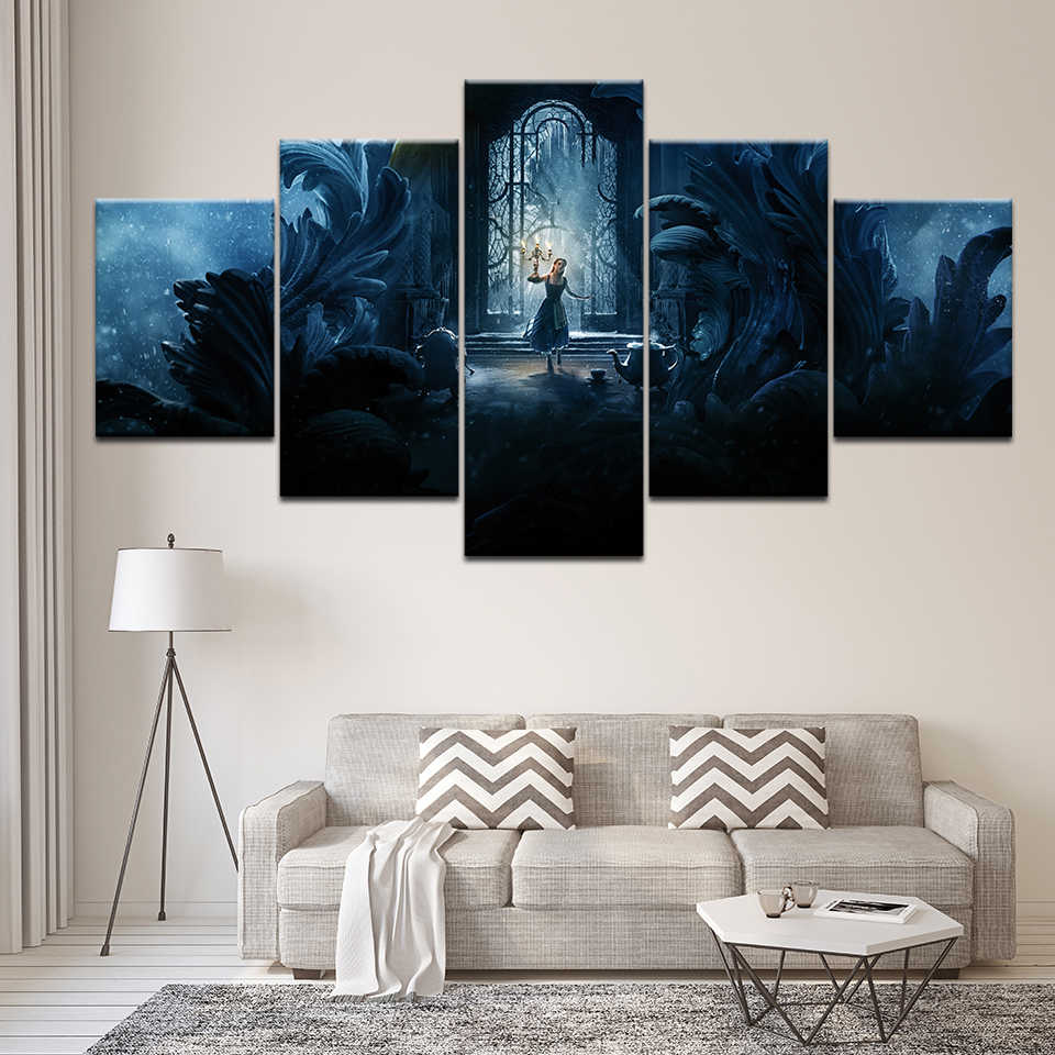 Canvas Painting Movie Beauty And The Beast 5 Pieces - Painting - HD Wallpaper