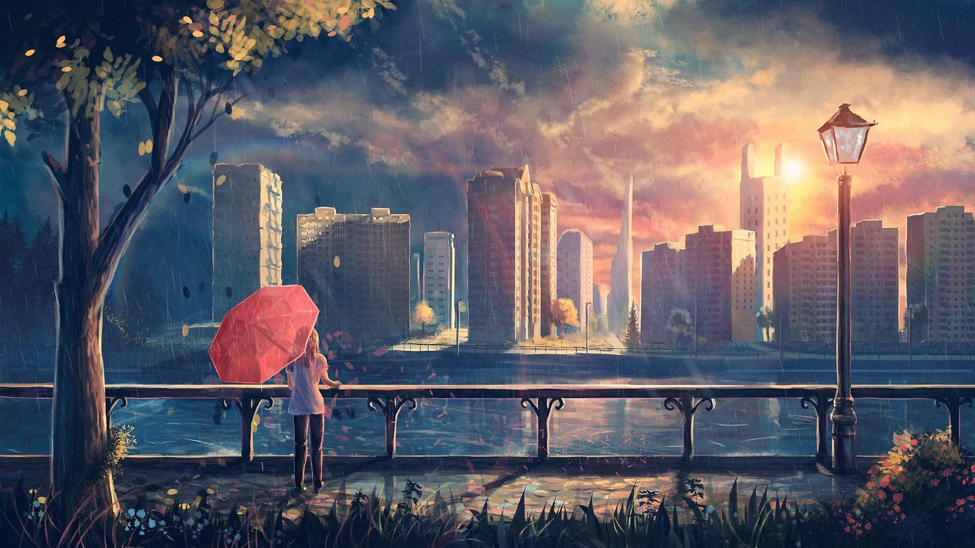 Artwork, Fantasy Art, Anime, Rain, City, Park, Umbrella - Anime Rainy City Background - HD Wallpaper