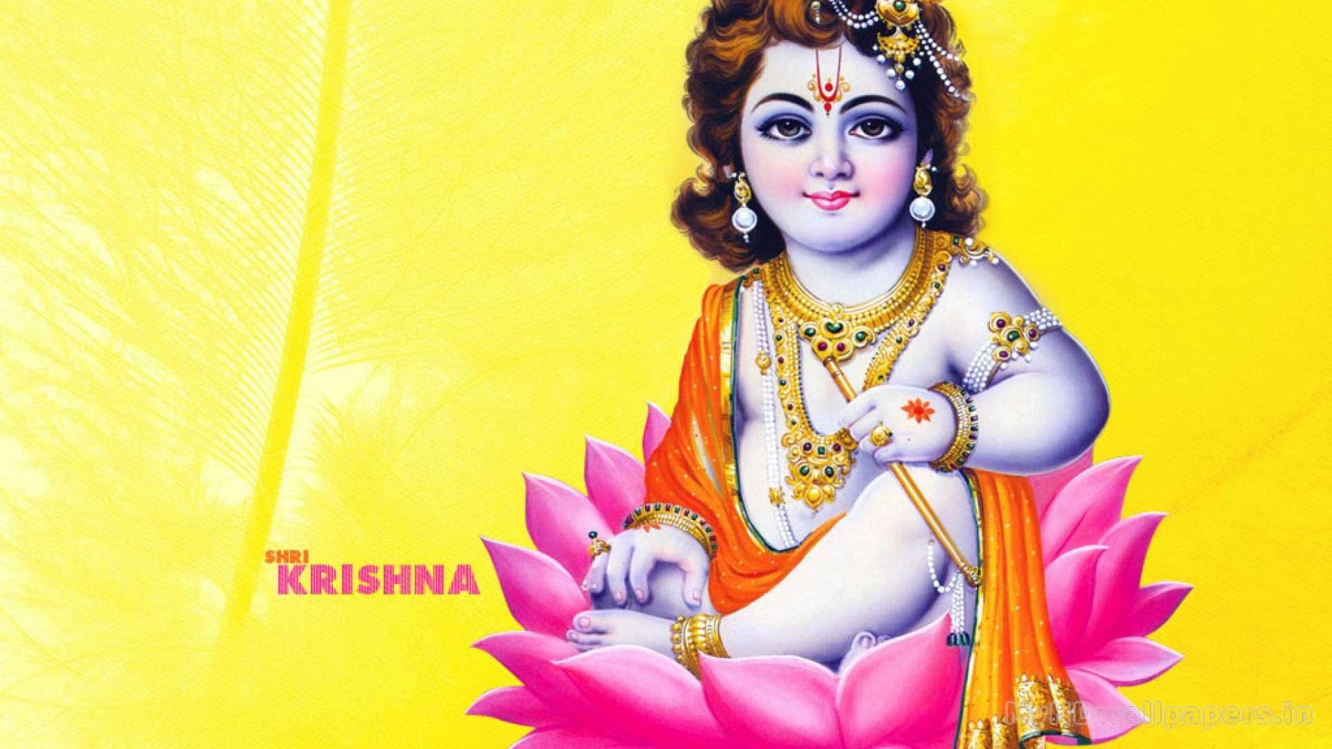 Lord Krishna On Lotus - HD Wallpaper
