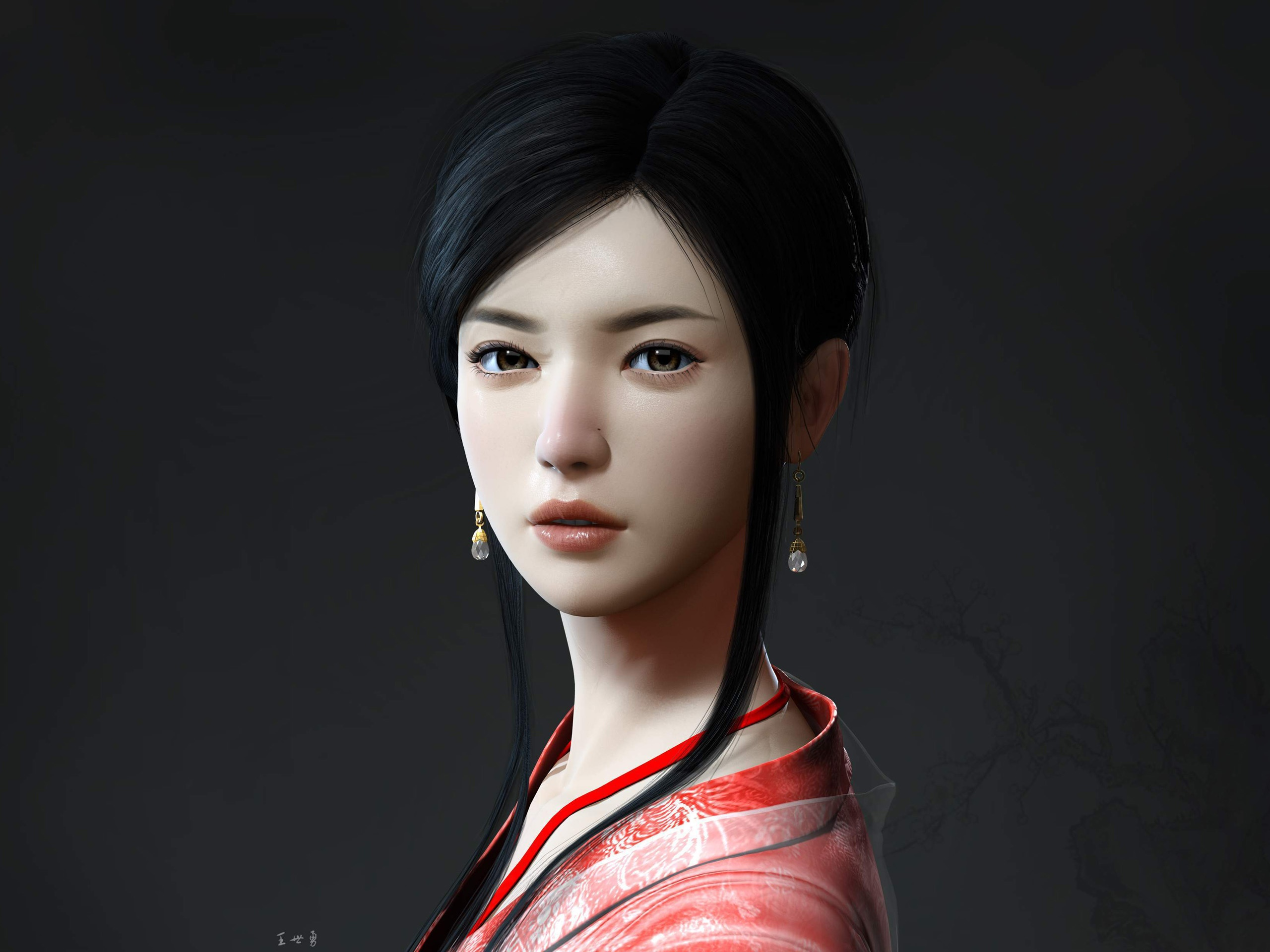 Wallpaper Beautiful Girl In Ancient China - Chinese Face 3d Model - HD Wallpaper