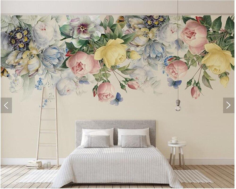 Custom 3d Wallpaper Flower, Rose Oil Painting Murals - Flower Murals For Walls - HD Wallpaper