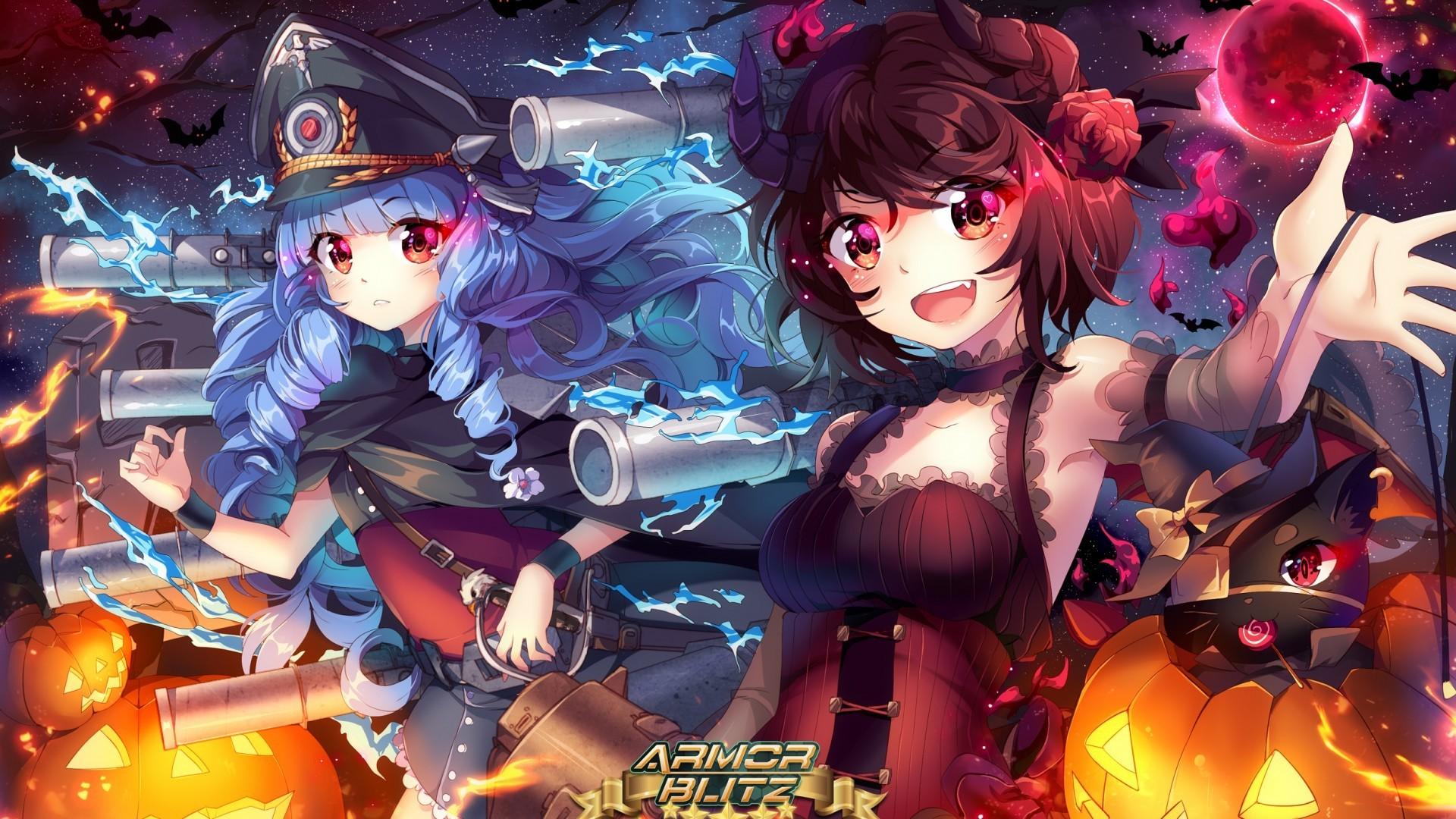 Halloween, Armor Blitz, Anime Girls, Anime Games, Horns, - Hd Anime Gaming Girl - HD Wallpaper
