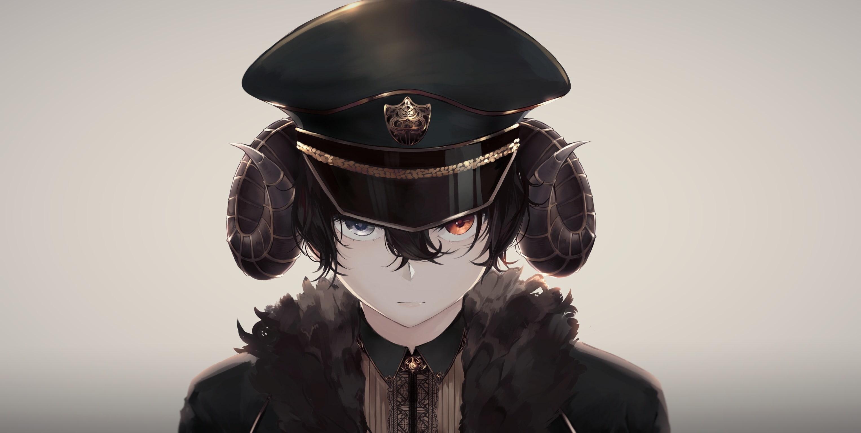 Anime Black Hair Boy With Hat - HD Wallpaper