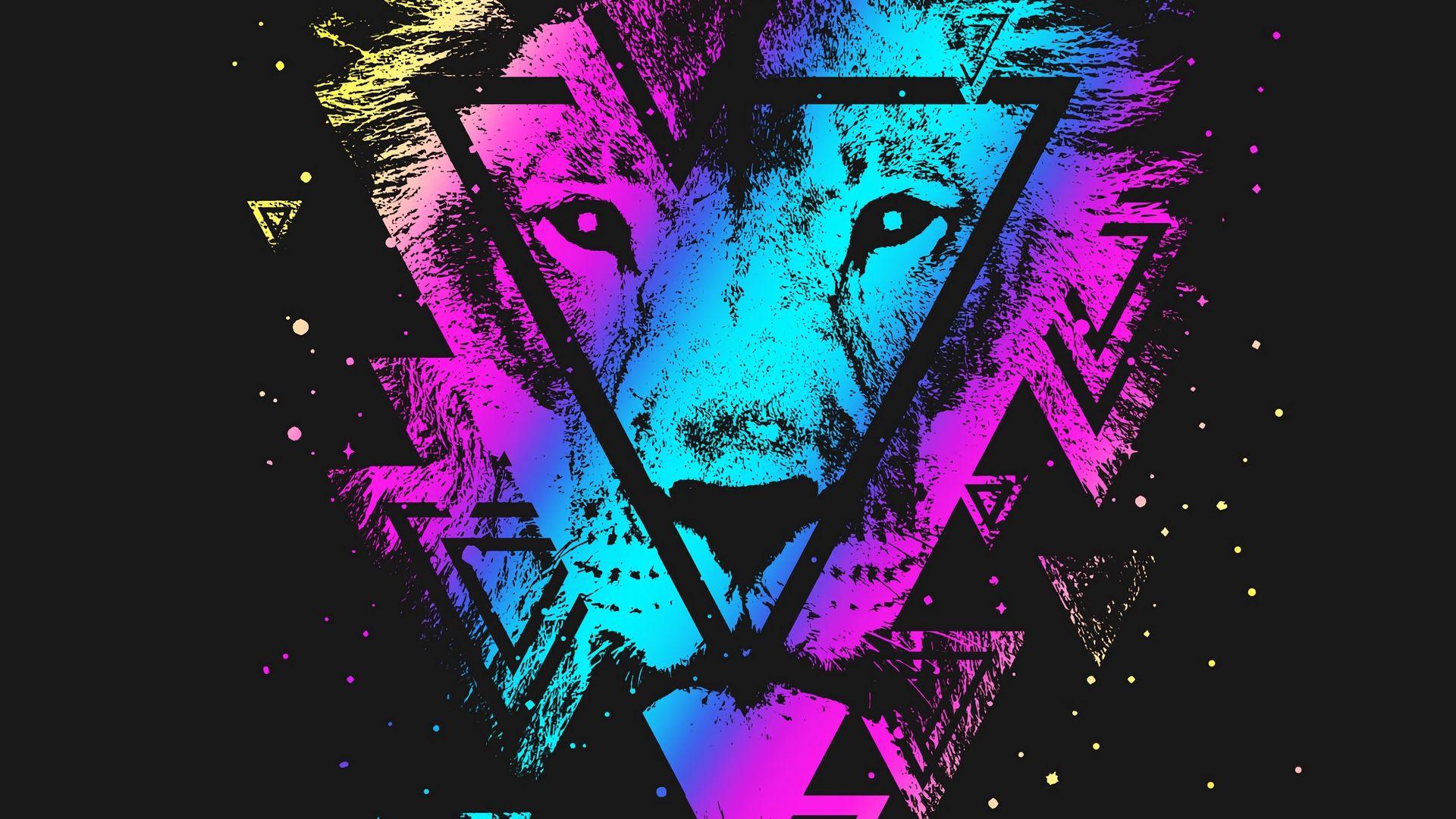Lion Art Download Wallpaper Image - Lion Colorful - HD Wallpaper