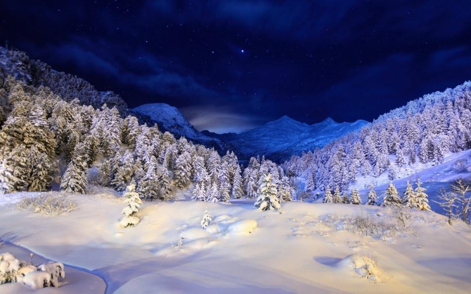 Winter Night, Mountains, Stars, Snow, Forest, Trees - Mountain Winter Night Landscape - HD Wallpaper
