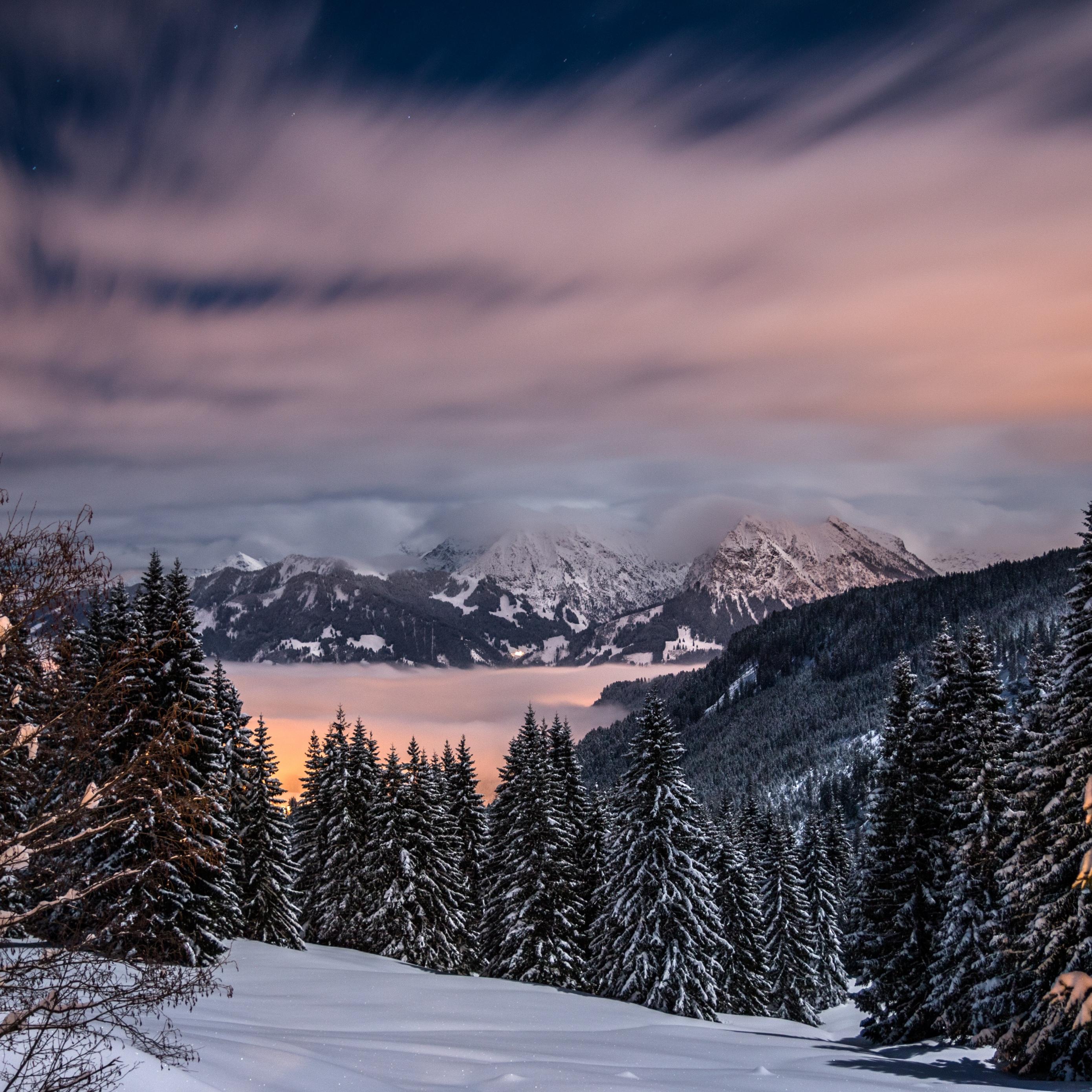 Wallpaper Winter, Mountains, Snow, Trees, Bavaria, - Winter Mountains Wallpaper Iphone - HD Wallpaper
