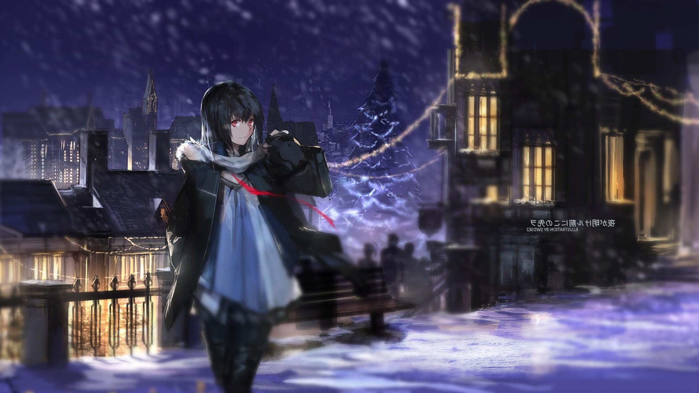 274 2744035 snowy christmas background anime