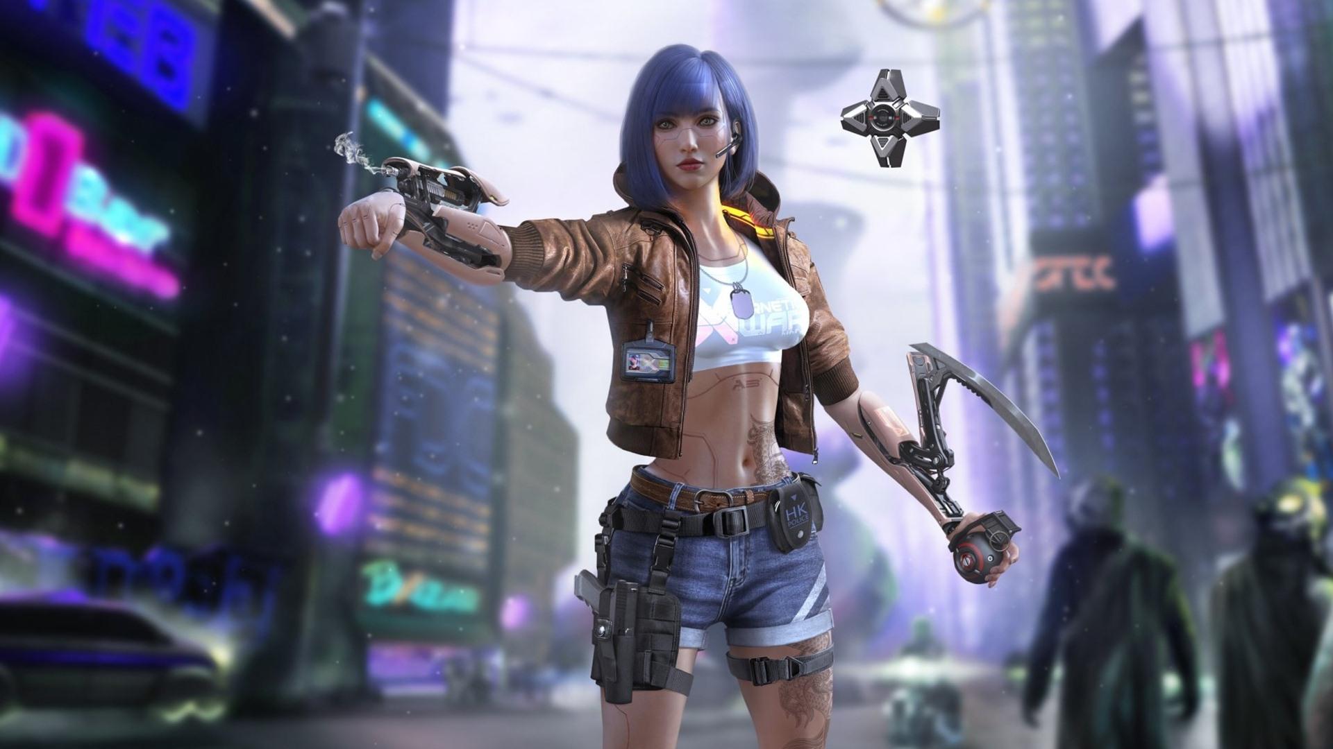 Cyberpunk 2077 Blue Hair Cyborg Girl Wallpaper - Cyberpunk ...