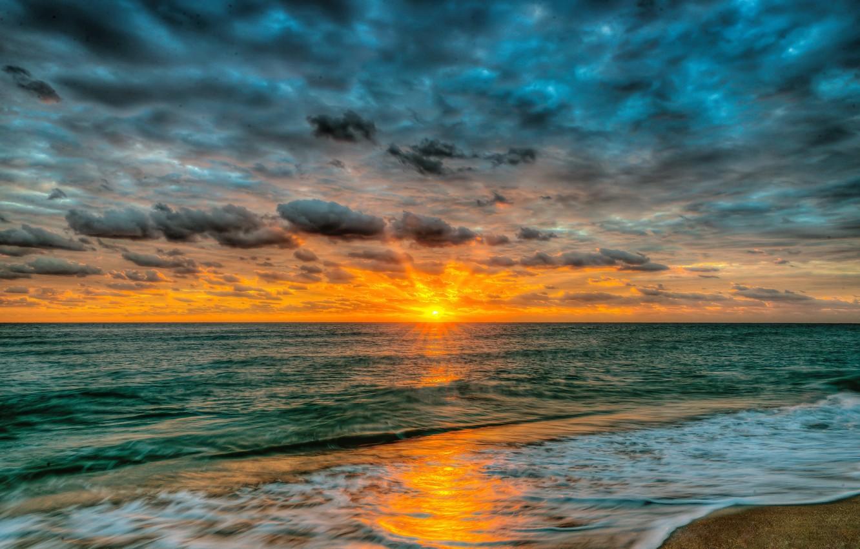 Photo Wallpaper Sand, Sea, Beach, The Sky, Water, Landscape, - Пейзаж Пляж Закат - HD Wallpaper