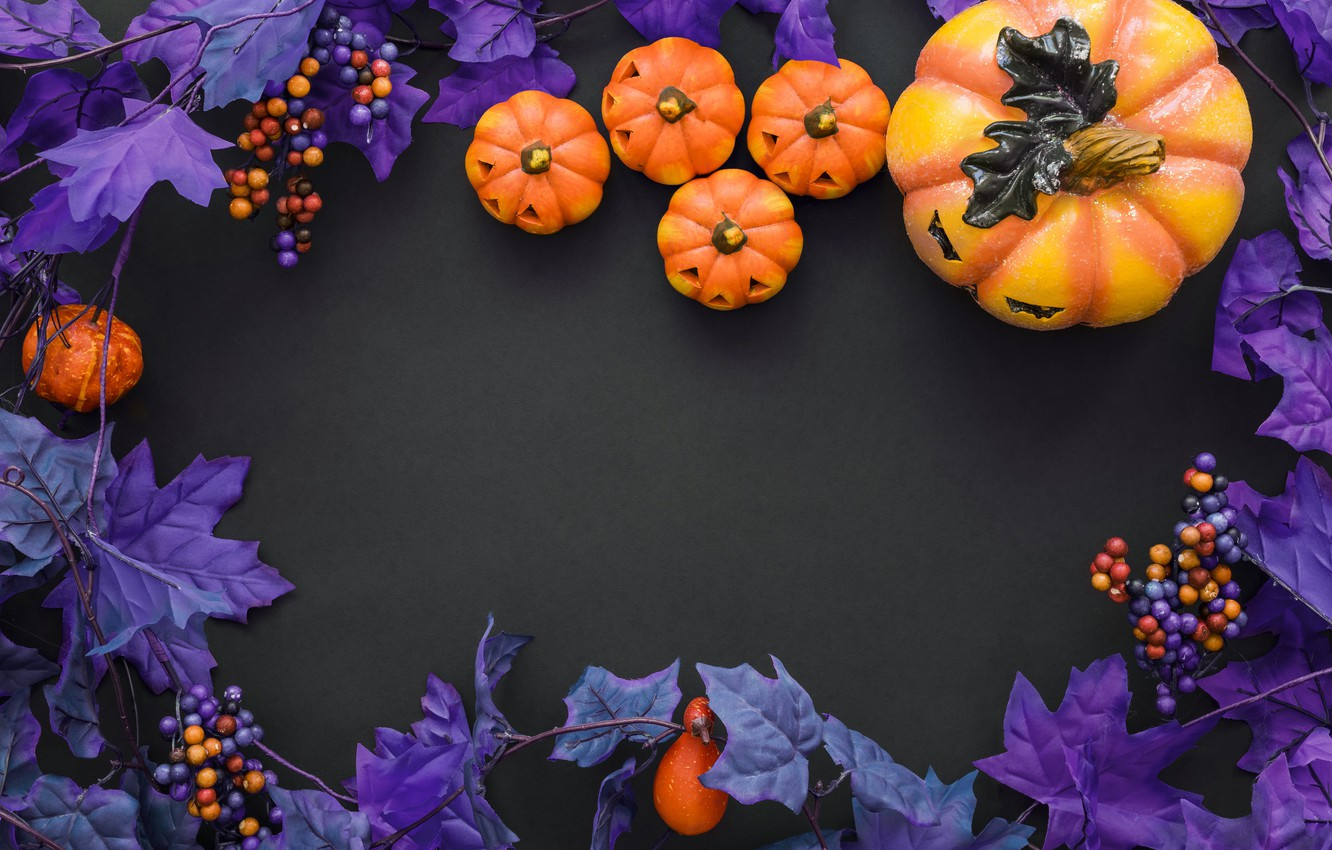 Photo Wallpaper Purple Halloween Pumpkin Halloween Halloween Purple And Orange 1332x850 Wallpaper Teahub Io