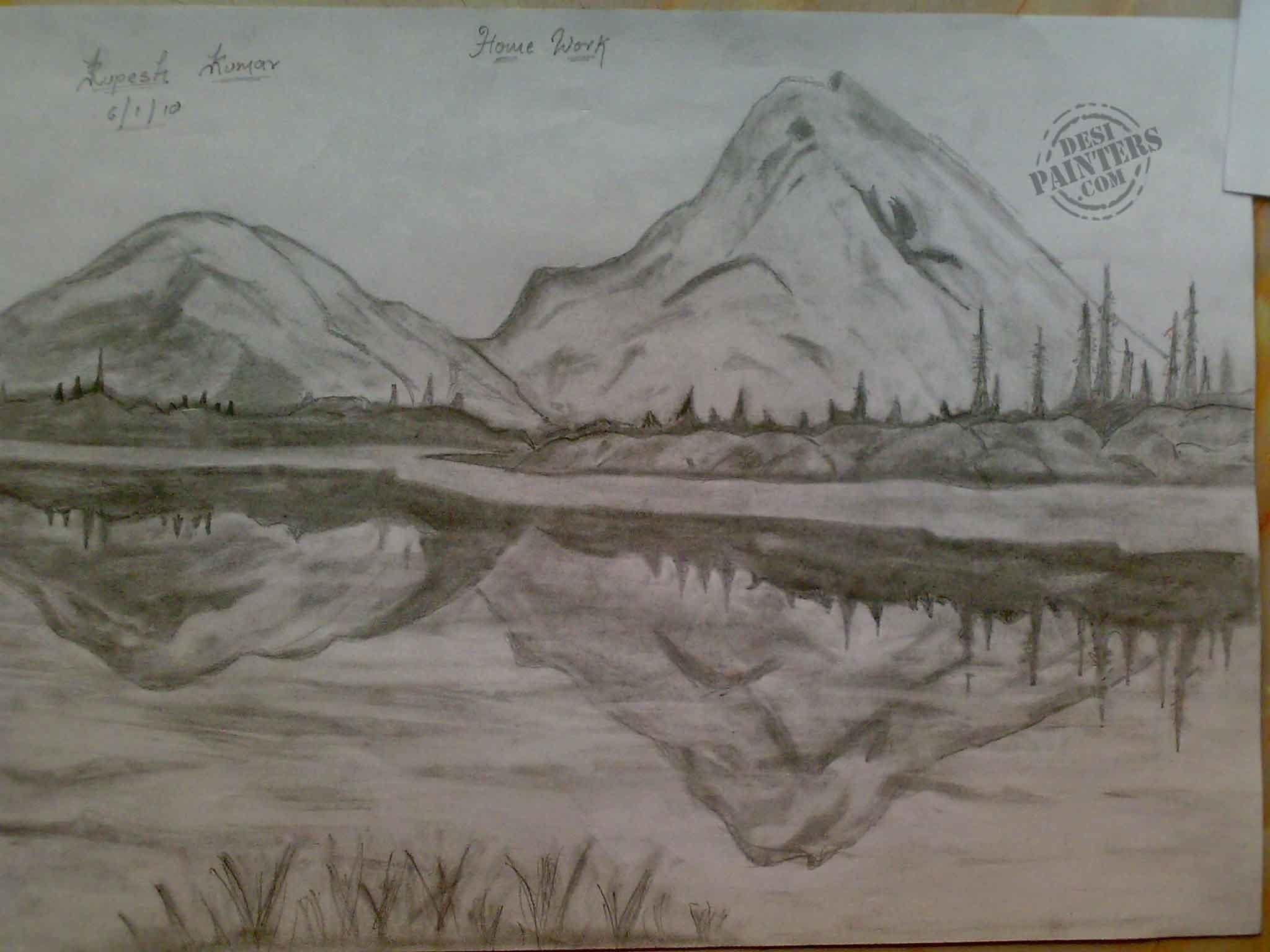 Pencil Sketch Art Designs Photos - Pencil Sketches Of Sceneries - HD Wallpaper