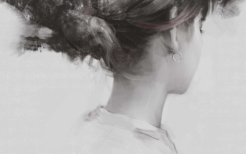Fantasy Woman, Earring, Hair, Back View, Artwork, Sketch - Monochromatic Pencil Drawing Realistic - HD Wallpaper