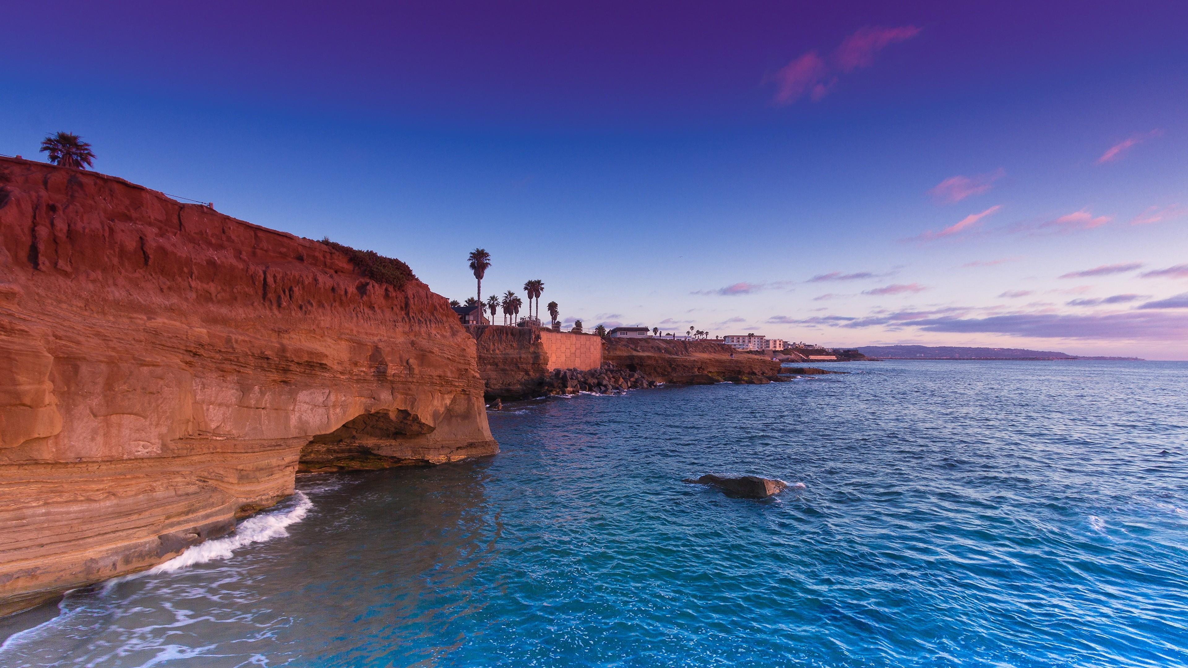 Sea Rocks Beach Summer - Sunset Cliffs 4k - HD Wallpaper
