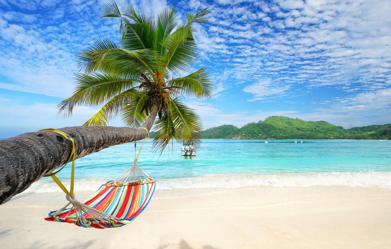 Photo Wallpaper Sand, Sea, Beach, Summer, Palm Trees, - A4 Size Tropical Beach A4 - HD Wallpaper