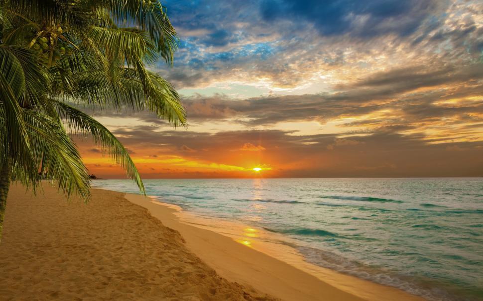 Sunset Beach Sea Shore Wallpaper,sunset Hd Wallpaper,beach - Tropical Sunset Beach Cover - HD Wallpaper