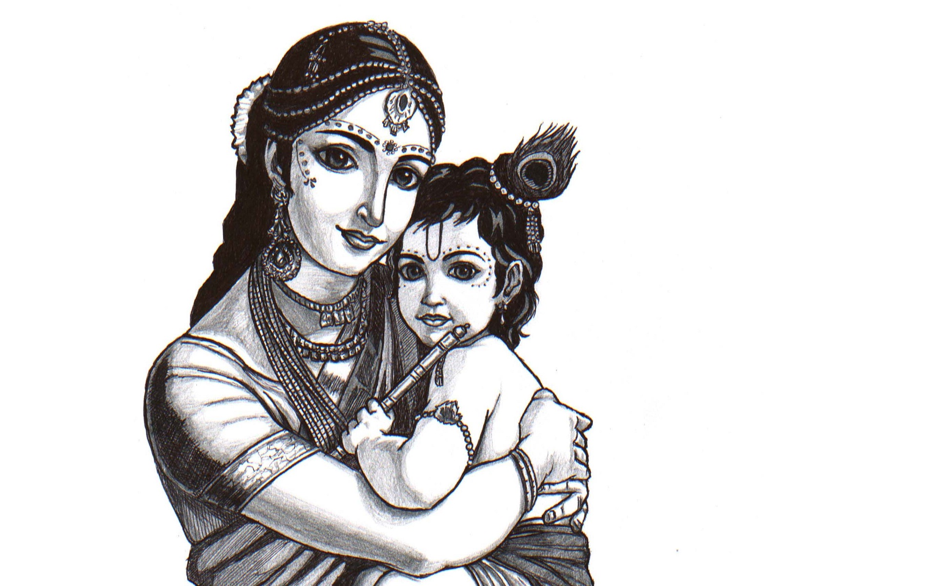 Bal Krishna And Yasoda Happy Janmashtami High Definition - Sketch Of Bal Krishna - HD Wallpaper