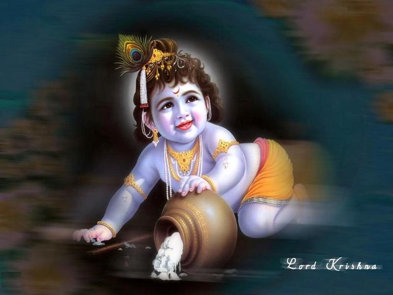 Bal Krishna Makhan Chor Wallpaper - Lord Krishna - HD Wallpaper