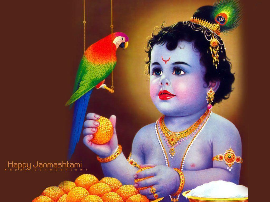 Lord Krishna With Parrot - HD Wallpaper