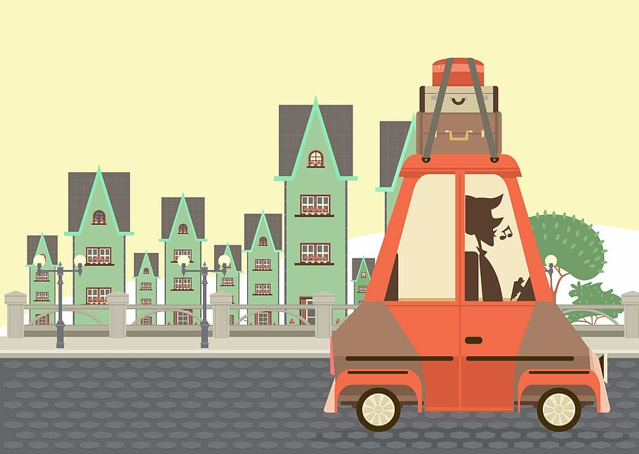 Powerpuff Girls Illustration, Car, Bags, City, No People, - Kartun Kota - HD Wallpaper