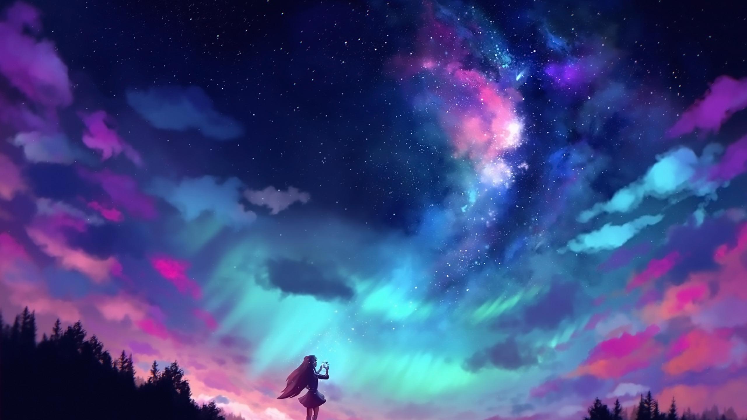 Anime Sky Wallpaper 4k 2560x1440 Wallpaper Teahub Io