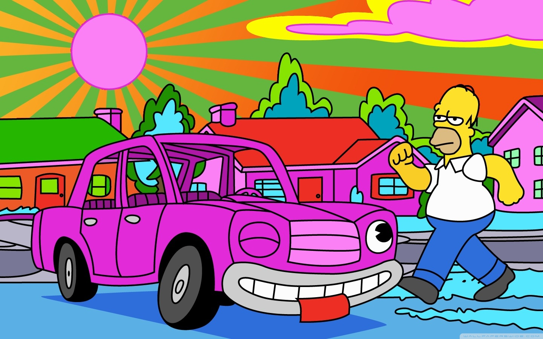 Homer Simpson No Carro - HD Wallpaper