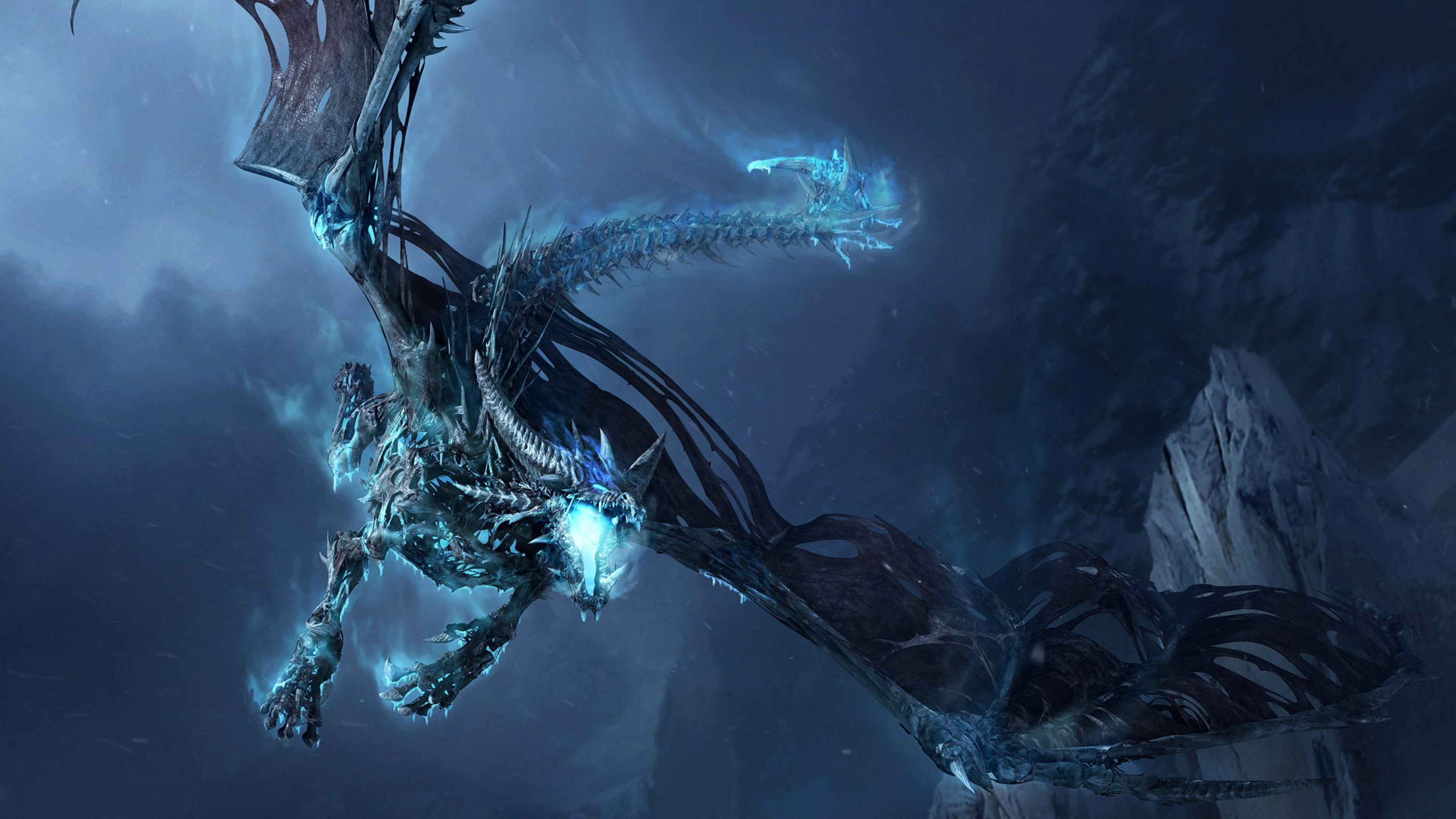 Of Warcraft Dragon Cold Mountain Wallpaper Background Blue