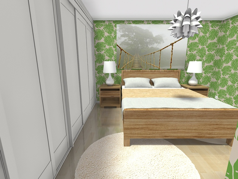 Bedroom With Tropical Design And Palm Leaf Wallpaper - Bedroom - HD Wallpaper
