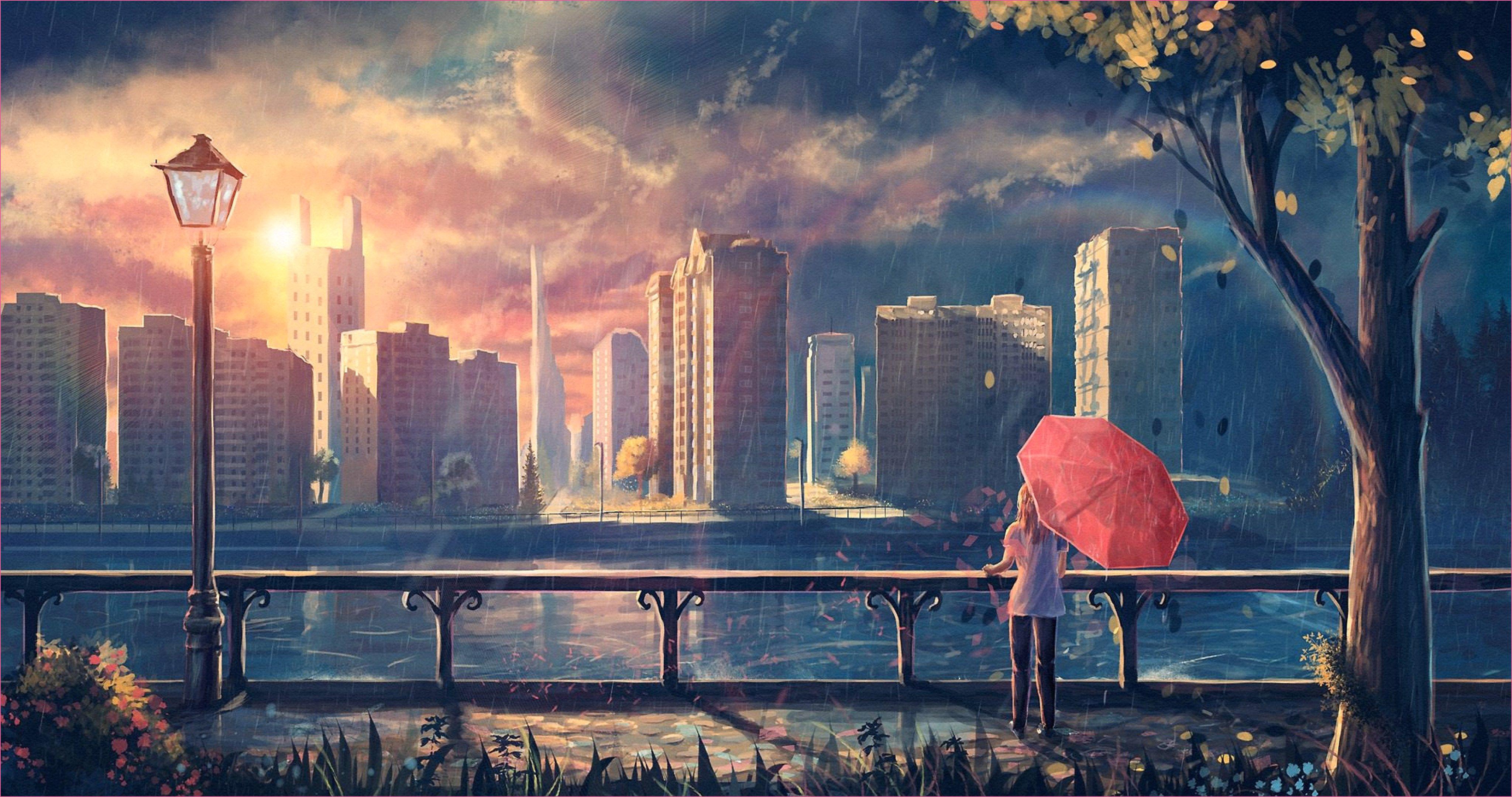Landschaft Wallpaper Art City 4k Ultra Hd Wallpaper - Anime City Wallpaper 4k - HD Wallpaper
