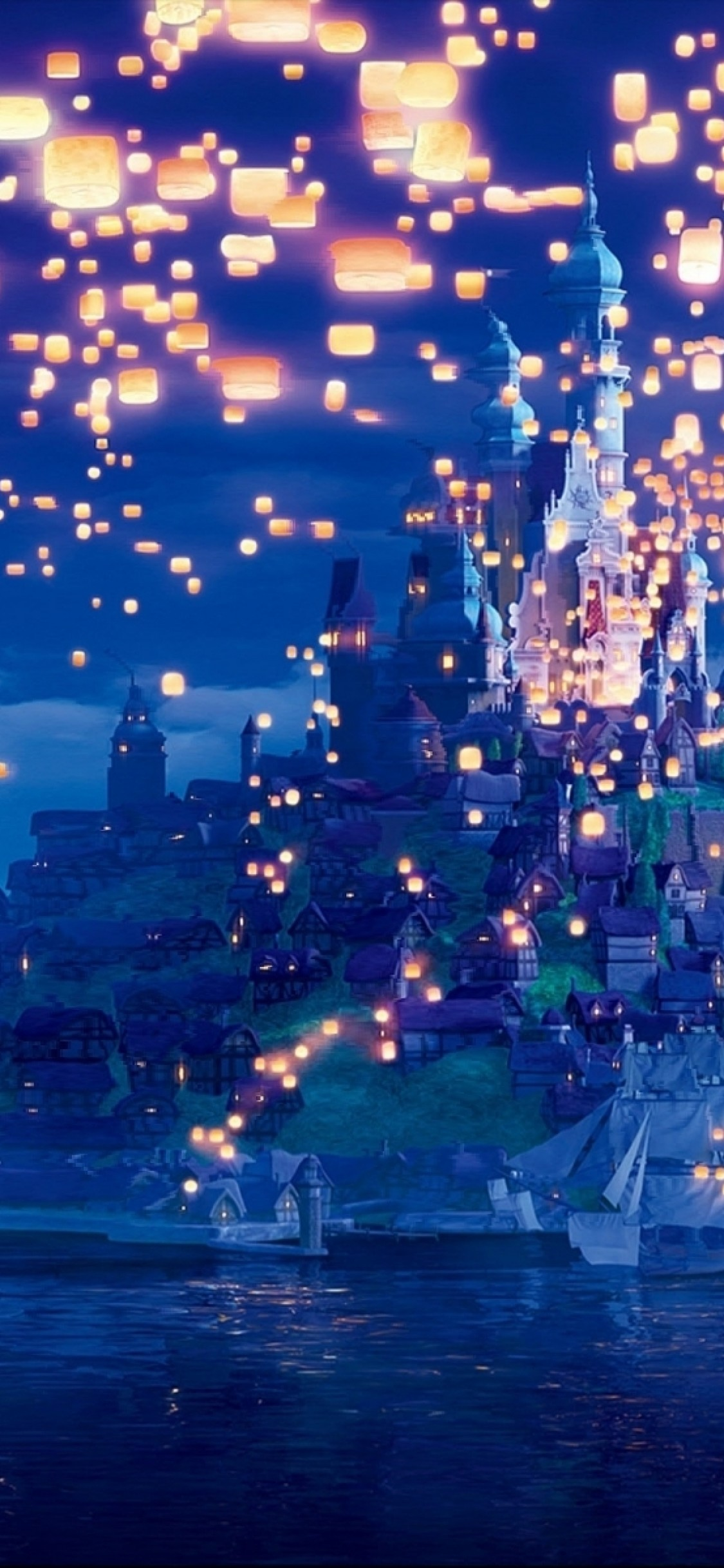 Tangled Lanterns Castle Long Hair Sky Artwork Beautiful Phone Wallpapers Disney 1125x2436 Wallpaper Teahub Io