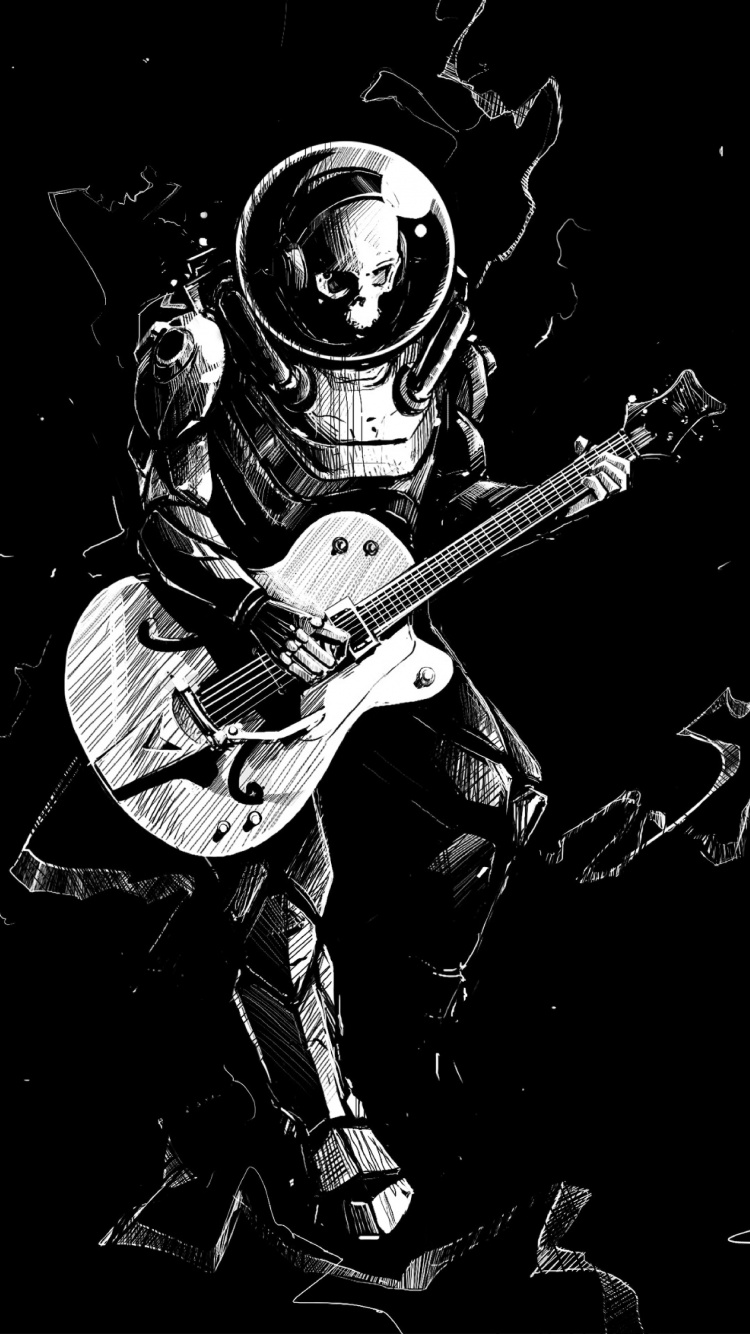Art Skeleton Guitar Play Music Bw Wallpaper Full Screen Guitar Wallpaper Hd 750x1334 Wallpaper Teahub Io