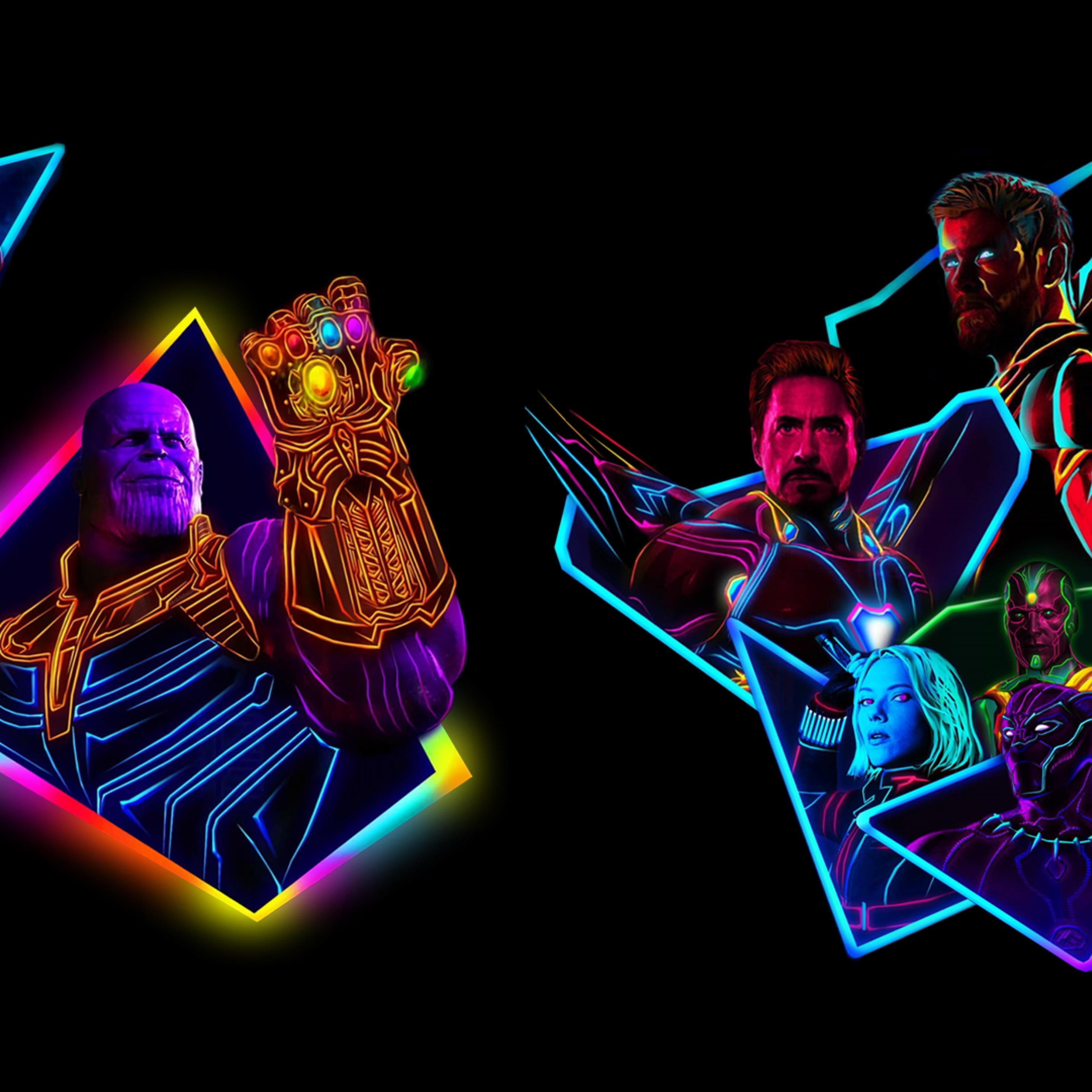 Avengers Infinity War Neon Wallpaper Download 2932x2932 Wallpaper Teahub Io