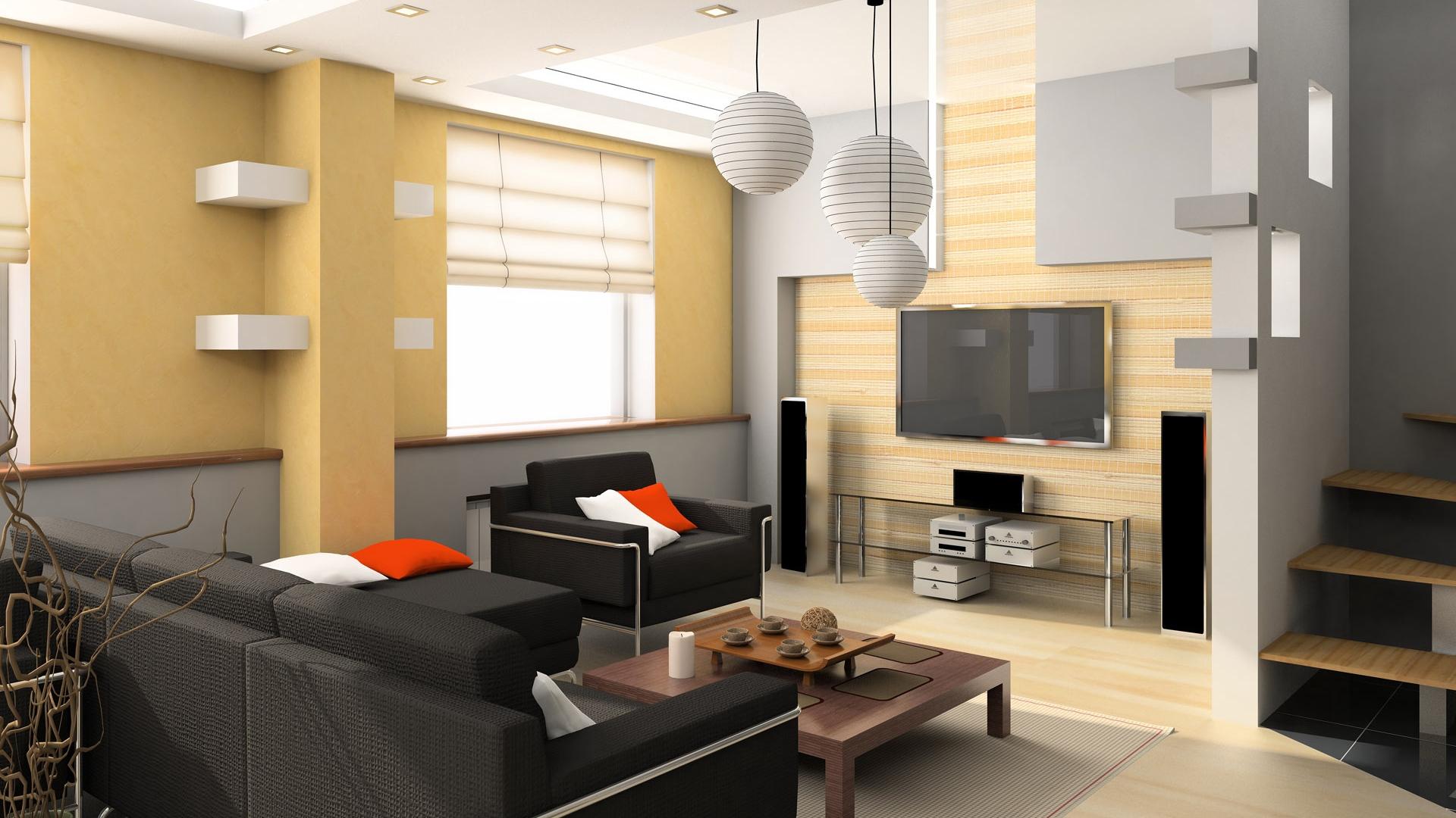 Wallpaper Room, Tv, Sofa, Interior, Design - Interior Design Ideas Living Room - HD Wallpaper