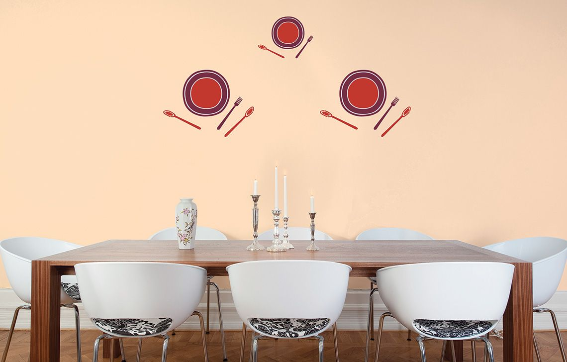 Bon Appetite Stencils On Pink Wall - Canvas Painting Ideas For Dining Room - HD Wallpaper