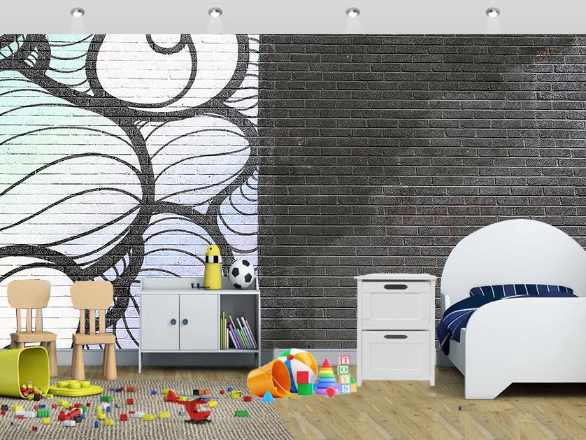 Grey Graffiti Art Classic Brick Wall Mural Kids - Wall Painting Using Paint Brush - HD Wallpaper