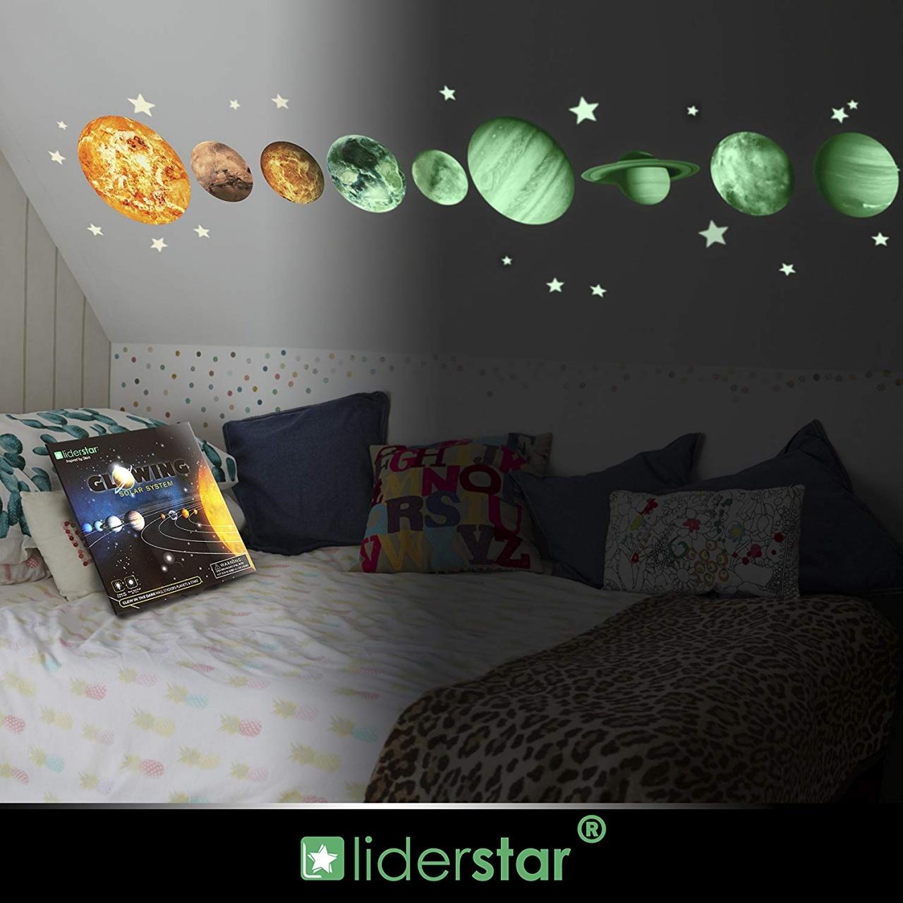 Glow In The Dark Bedroom Decor Leuchtende Sterne Und - Liderstar Glow In Solar System - HD Wallpaper