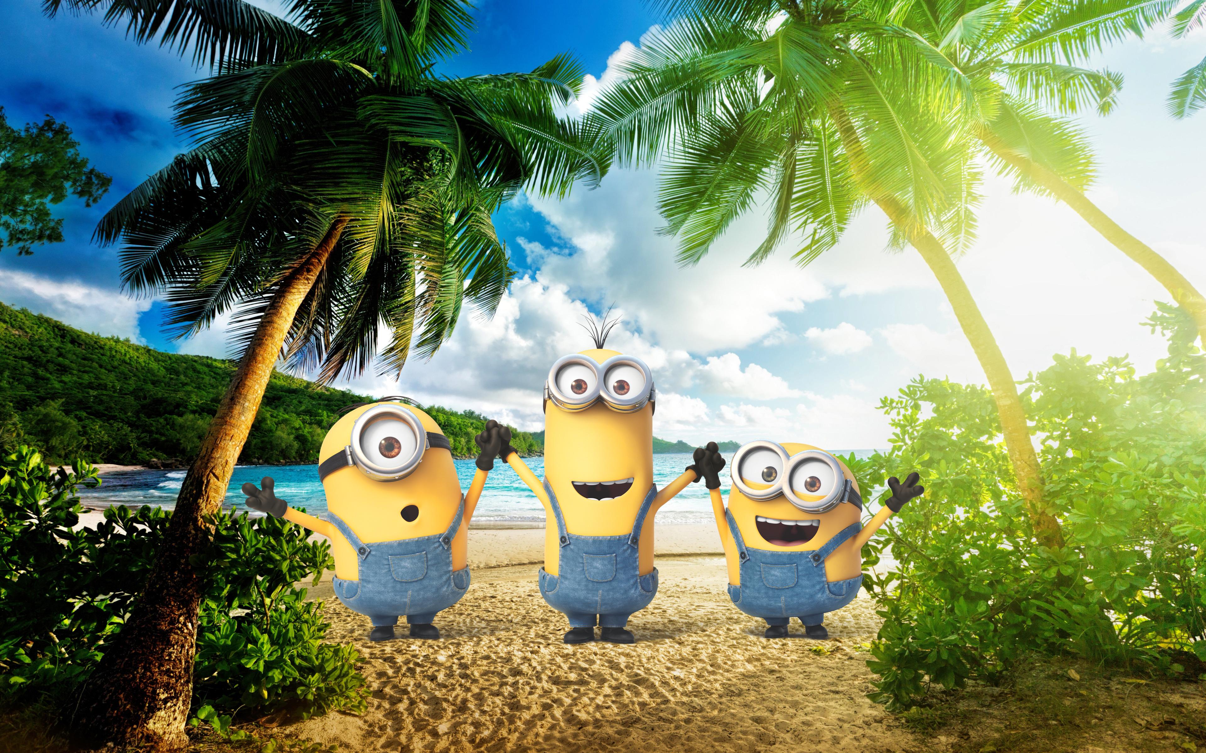 Minions, 4k, Palms, Exotic Beach, Kevin, Stuart, Bob, - Palm Beach - HD Wallpaper