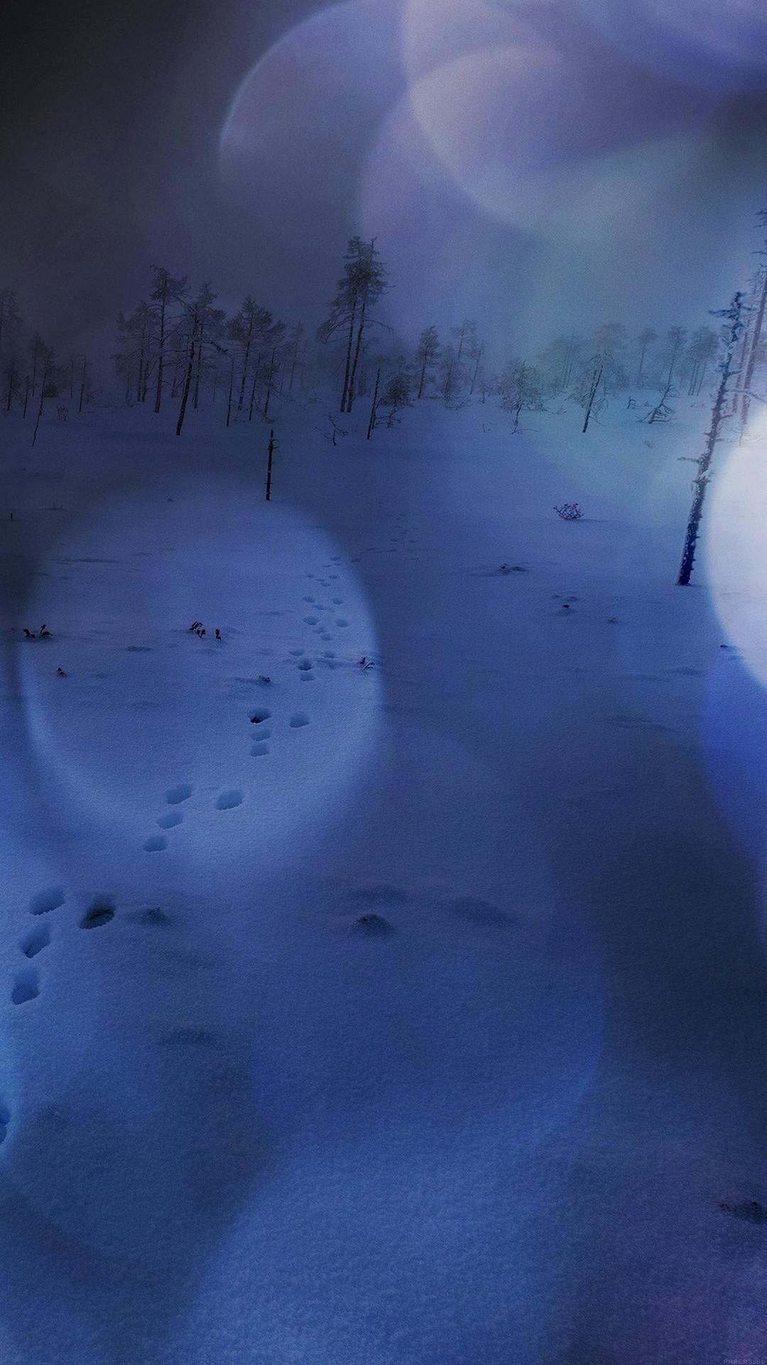 Snow Walk Winter Dark Blue Bokeh Footprints Nature - Iphone Plus Wallpaper Dark Winter - HD Wallpaper