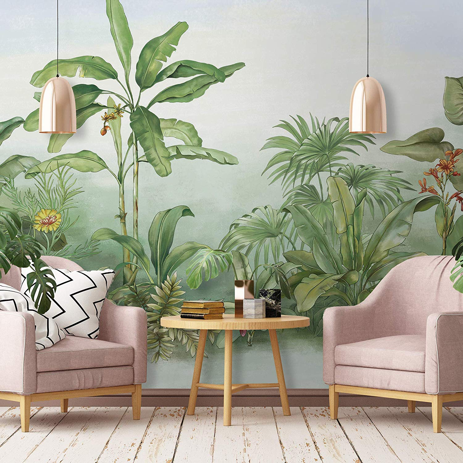 Murwall Forest Wallpaper Jungle Wall Mural Drawing - Paint Leaves On Wall - HD Wallpaper