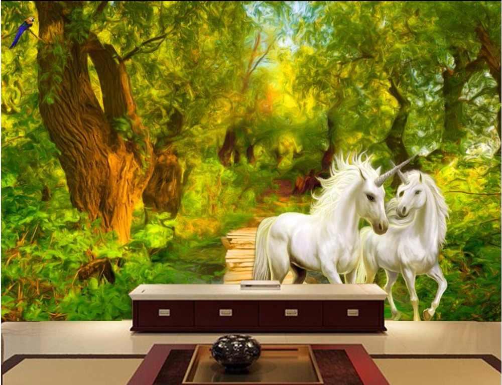 Custom Mural 3d Photo Wallpaper Jungle Unicorn Home - Home Painting On Wall Jungle - HD Wallpaper