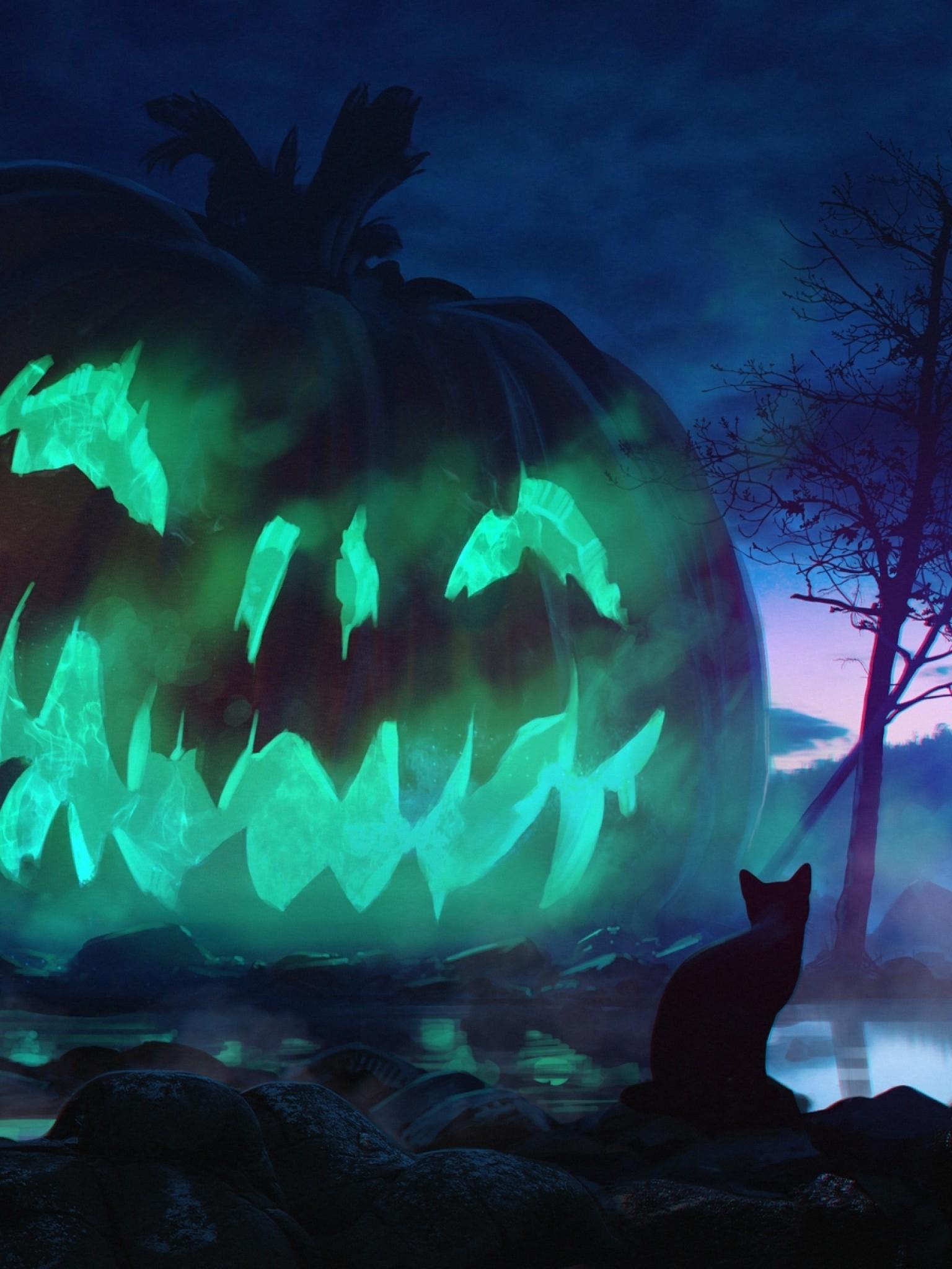Halloween Giant Pumpkin Scary Cats Dark Theme Jack O Lantern Background 1536x2048 Wallpaper Teahub Io