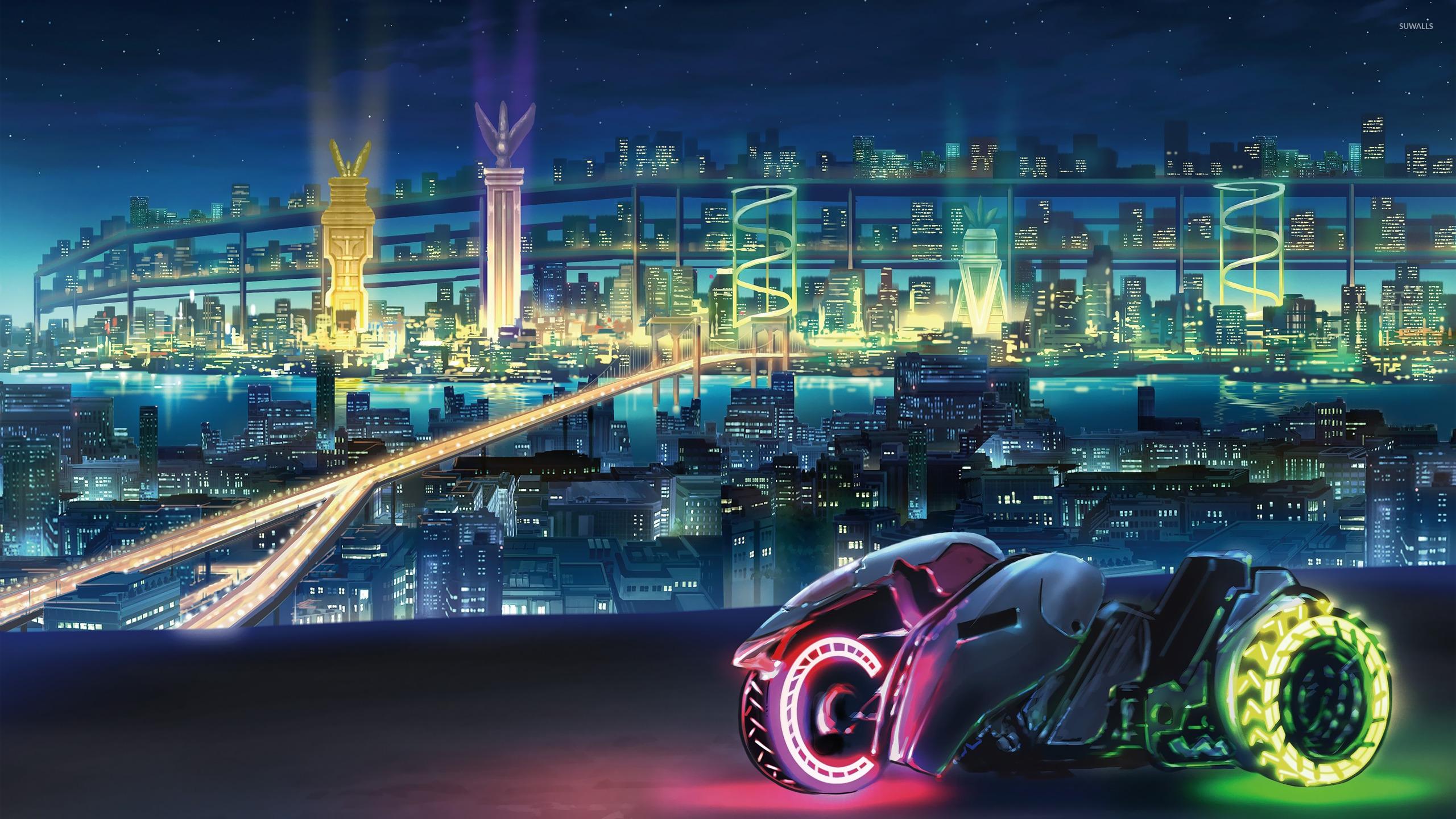 Sci Fi Neon City 2560x1440 Wallpaper Teahub Io