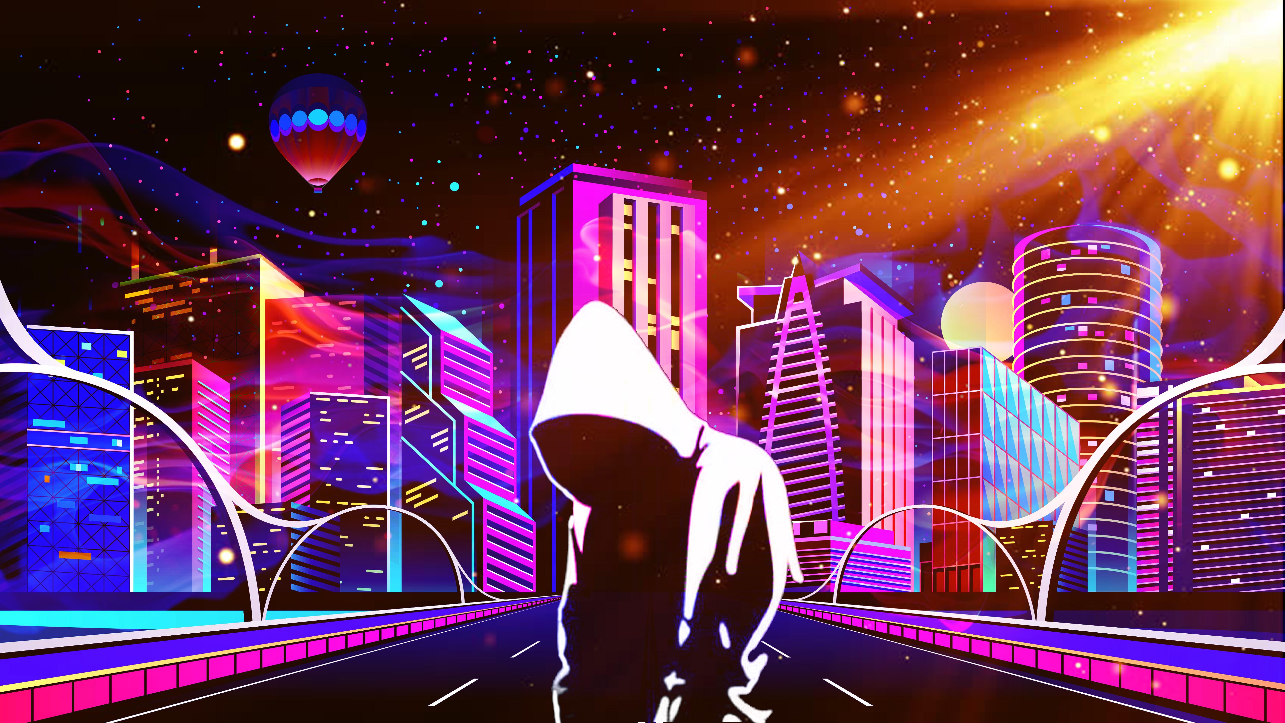 Glow Buildings Background - HD Wallpaper