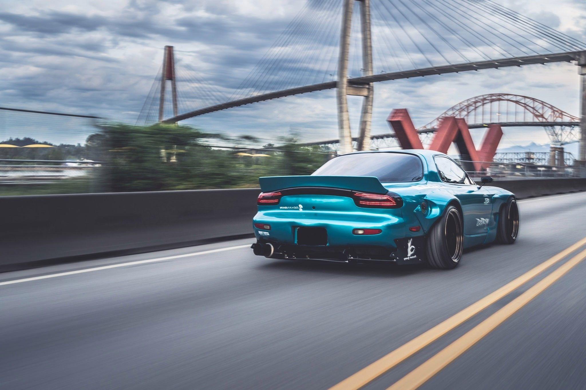 48x1365 Sports Car Mazda Rx 7 Blue Cars Bridge Rocket Rocket Bunny Rx7 Rear 48x1365 Wallpaper Teahub Io