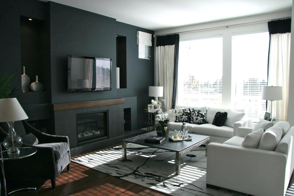 Feature Wall Living Room Black Home Design Throughout - Black Feature Wall Living Room - HD Wallpaper