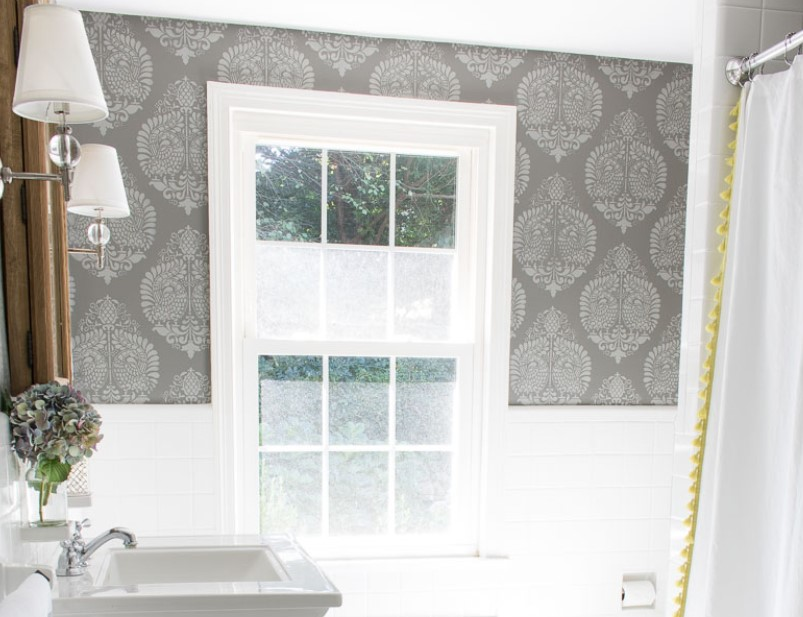 35 Bathroom Wallpaper Ideas 2019 - Paint Tile Floor - HD Wallpaper
