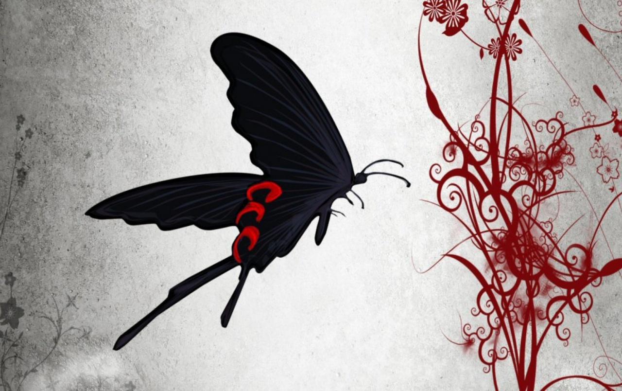 Mariposa Negro Y Rojo De La Flor Wallpapers - Zetsuen No Tempest Butterfly - HD Wallpaper