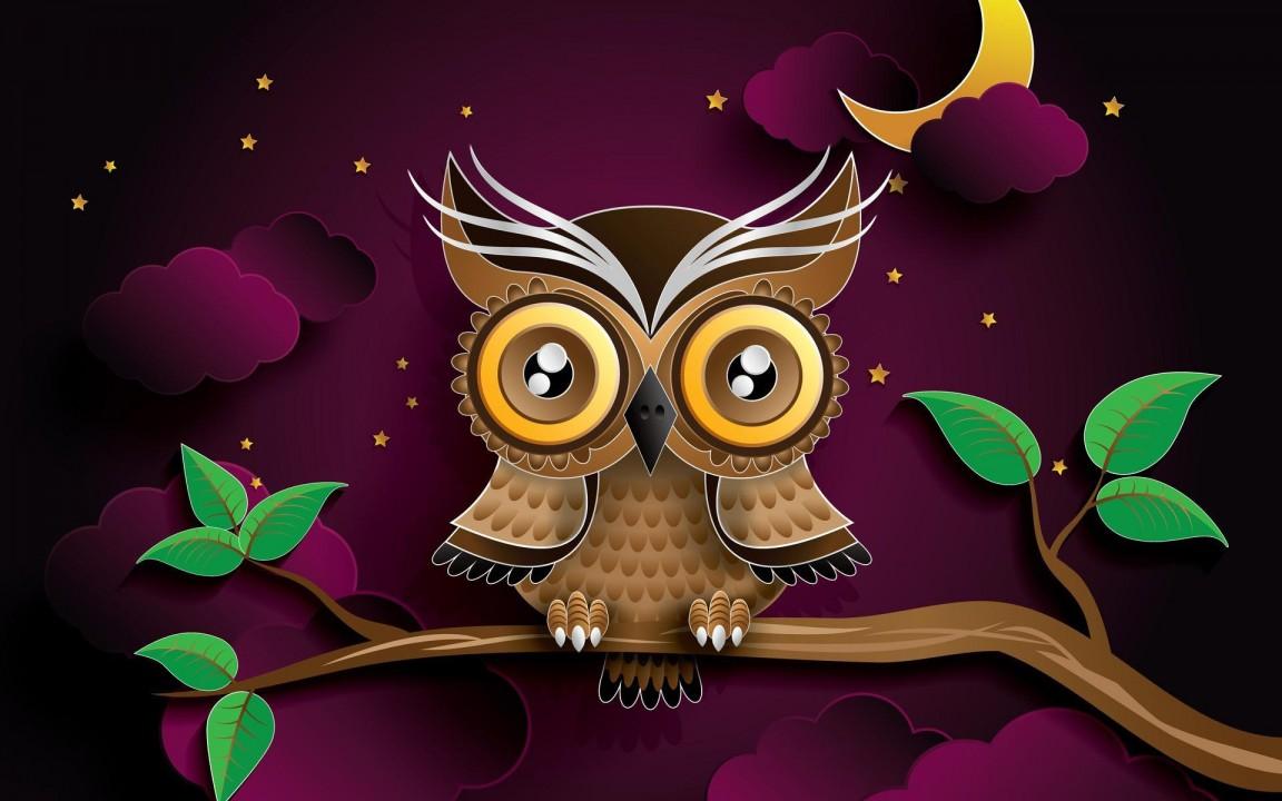 Kartun Lucu Burung Hantu - HD Wallpaper