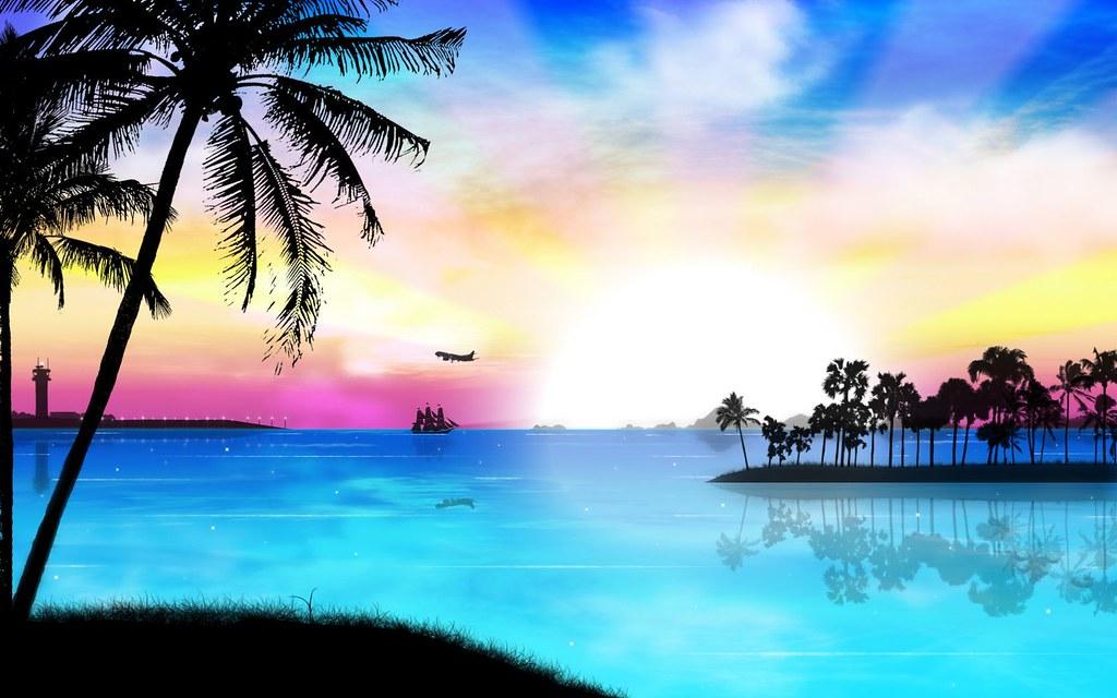 Sunset Tropical Island Beach - HD Wallpaper
